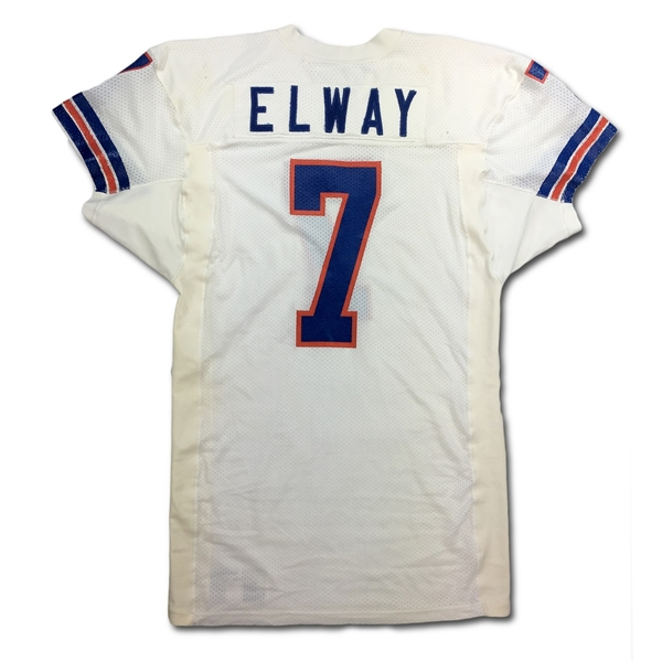 John Elway 1988 Denver Broncos Game Used Road Jersey - Repairs - Photo Matched! (Meigray LOA)