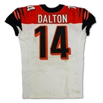 Andy Dalton 12/15/13 Cincinnati Bengals Game Used Road Jersey - Unwashed, Photo Matched (RGU,Pro Shop Tag)