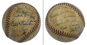 1946 Detroit Tigers Team Signed OAL Baseball w/Babe Ruth Bold Autograph & Program (PSA LOA)