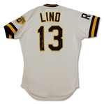 Jose Lind 1988 Pittsburgh Pirates Game Used & Twice Signed Jersey - Incredible Use (MEARS,JSA)
