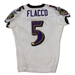 Joe Flacco 9/25/11 Baltimore Ravens Game Used & Signed Road Jersey - 389 Yards, 3 TDs! Photo Matched (Ravens LOA)