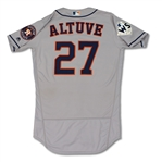 Jose Altuve 10/24/17 Houston Astros Game Used WORLD SERIES Jersey - 1st WS Hit, 2017 MVP, Photo Matched (MLB Auth)