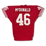 Tim McDonald San Francisco 49ers Game Used Home Jersey - 8 Repairs! Outstanding Wear!