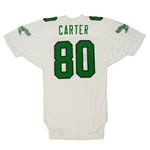 Cris Carter Philadelphia Eagles Game Used & Signed Road Jersey - Photo Matched, Repair