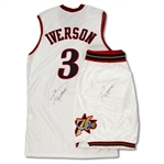 Allen Iverson 2002-03 Philadelphia 76ers Game Used & Dual Signed Home Jersey & Shorts (Iverson LOA)