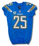 Darrell Stuckey 10/25/2015 San Diego Chargers Game Worn Jersey - Unwashed (Chargers LOA)