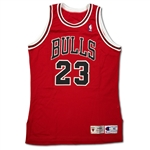 Michael Jordan 1995-96 Chicago Bulls Game Used Red/Road Jersey – 72-10 Season, 4th NBA Title, Solid Wear (Miedema LOA)