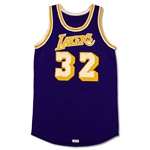 Magic Johnson 1980-85 Los Angeles Lakers Game Worn & Signed Road Jersey (MEARS A10)