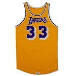 Kareem Abdul-Jabbar Los Angeles Lakers Game Worn Home Jersey - Excellent Wear (76ers Equipment Staff Letter/MEARS A9.5)