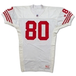 Jerry Rice 1992 San Francisco 49ers Game Worn & Signed Jersey - Gifted to NBA Star Larry Johnson, Evident Use (PSA/MEARS A10)