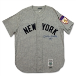 Mickey Mantle Signed & Inscribed Authentic Throwback New York Yankees Road Jersey (UDA/PSA)