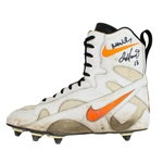 Dan Marino Photo Matched 1996 Game Worn & Signed Custom Nike Miami Dolphins Cleat - Worn After Achilles Injury (HA/JSA)