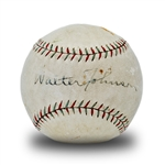 Walter Johnson Single Signed Official League Spalding Cork Center Baseball w/PSA 6 Signature (PSA/DNA 5.5 Overall/SGC)