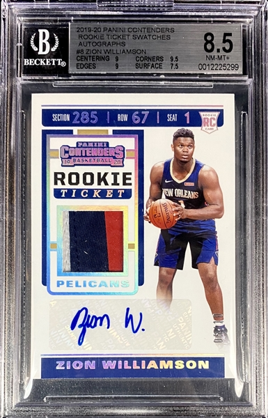 Zion Williamson 2019-20 Contenders Rookie Ticket Patch Auto #d 5/10 - BGS 8.5 - The Rarest non 1/1 Contenders Ticket Variation