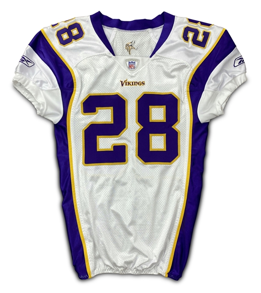 Adrian Peterson 11/11/07 Minnesota Vikings Game Worn Rookie Jersey - Photo Matched (NFL Auctions, Resolution LOA) 2 Team Repairs